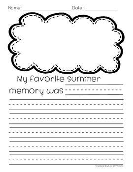 Back to School Writing: My Favorite Summer Memory