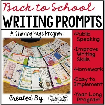 Distance Learning - Writing Prompts for Back to School Class Share Time