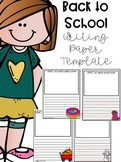 Back to School Writing Paper Template