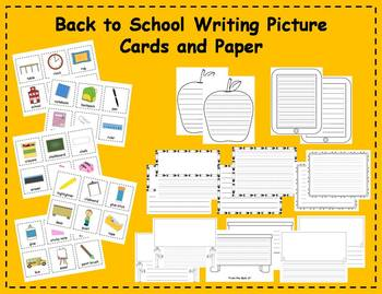 Back to School Writing Picture Cards & Paper Writing Center