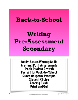 Back-to-School Writing Pre- and Post-Assessments for the S