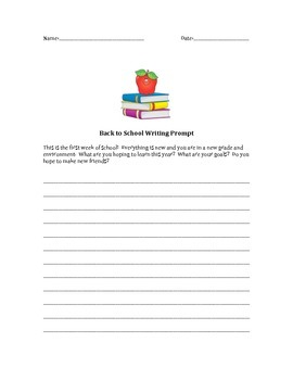 Back to School Writing Prompt