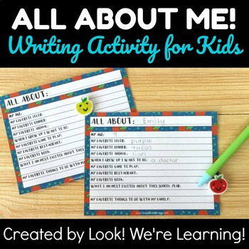 Back to School Writing Prompt: All About Me!