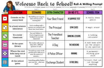 Back to School Writing Prompt - Roll the Dice!
