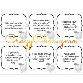 Back to School Writing Prompts {36 cards}