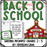 Back to School // Writing Prompts: Grades 2 - 5