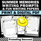 Back to School Writing Prompts How I Spent My Summer Vacat