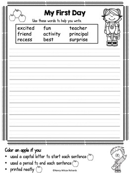 Back to School WRITING PROMPTS First and Second Grade with Self-Check Rubrics
