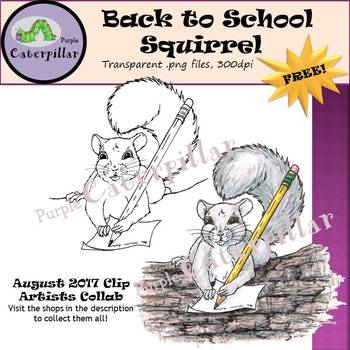 Back to School Writing Squirrel   #tptclipartistscollab