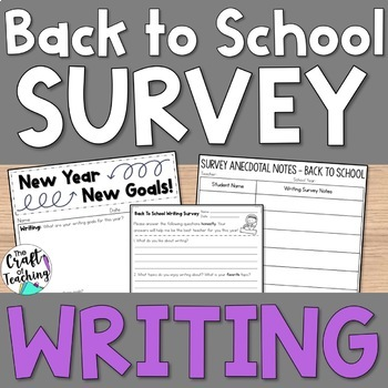 Back to School Writing Survey