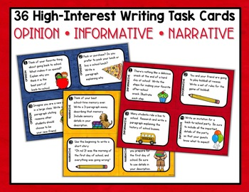 Back to School Writing Task Cards - Opinion, Narrative, Informational