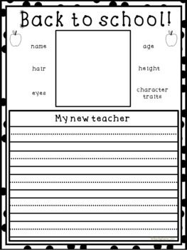 Back to School Writing - Worksheets for the first week back at School