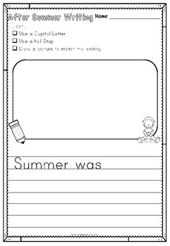 Back to School Writing (after the summer holidays)