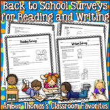 Back to School Writing and Reading Surveys