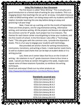 Back to School Writing Lessons for 4th Grade