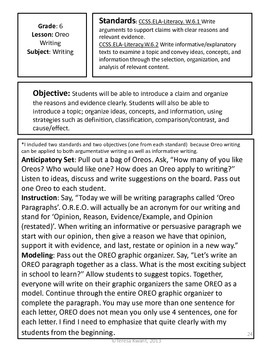 Back to School Writing Lesson for 6th Grade