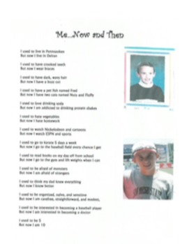 Poetry and Creative Writing: Me...Now and Then