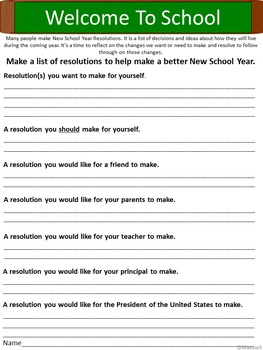 Back to School Year Resolutions