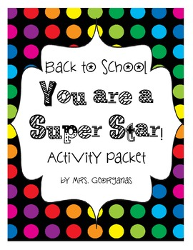 Back to School {You are a Superstar!} Activity Packet