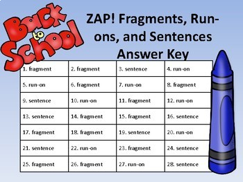 Back to School ZAP: Fragments, Run-ons, and Sentences