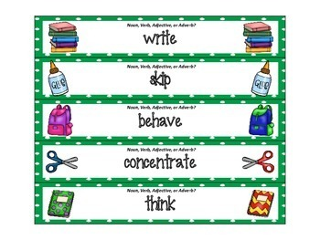 Back to School ZAP: Nouns, Verbs, Adjectives, and Adverbs