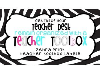 Back to School - Zebra Print Teacher Tookit or Toolbox Labels