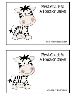 Back to School Zebra Treat - 1st Grade