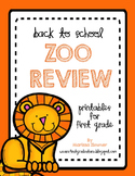 Back to School Zoo Review - First Grade Printables