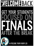 Back to School after Break: Get Your Students Focused (FREEBIE)