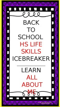 Back to School :  all about you icebreaker/teambuilder