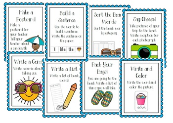 Word Wall Writing Stations: Back to School and Beach Words