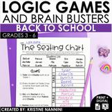 Back to School Activities Logic Games - Beginning of the Year Activities