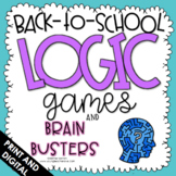 Back to School Activities - Logic Games - First Week of Sc