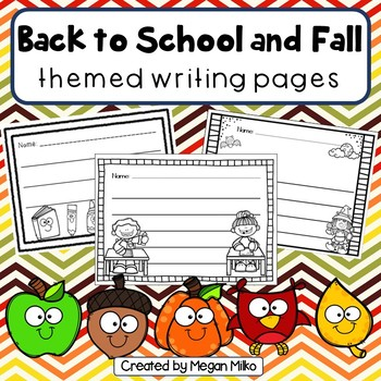 Back to School and Fall themed Writing pages