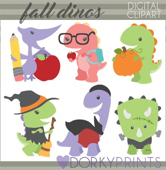Back to School and Halloween Dinosaurs Clipart