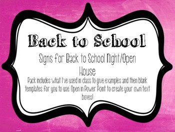 Back to School and Open House Posters