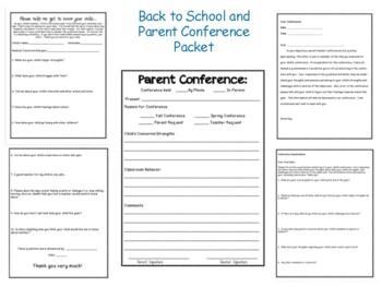 Back to School and Parent Conference Packet