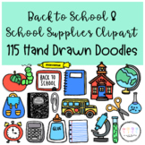 Back to School and School Supplies Clipart I Hand Drawn Doodles