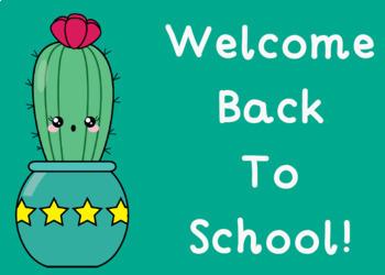Welcome Back to School Postcards (Editable):  Cactus Theme