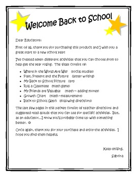 Back to School and YOU Activity Packet
