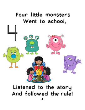 """Back to School class rules book """"5 Little Monsters went to School"""""""