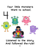 "Back to School class rules book ""5 Little Monsters went to"