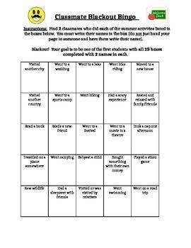 Back to School summer bingo game