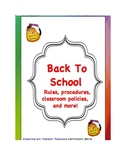 Back to School classroom rules and procedures packet