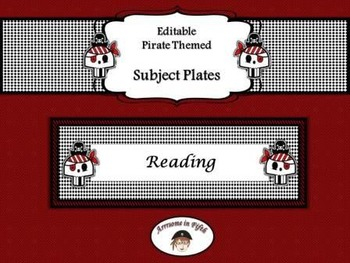 Back to School editable Pirate Themed Subject Plates