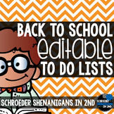 Back to School To Do Lists