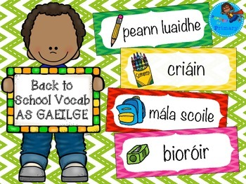 Back to School flashcards AS GAEILGE