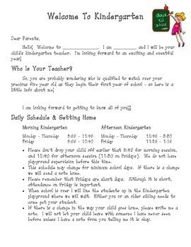 Kindergarten Back to School Parent Handout