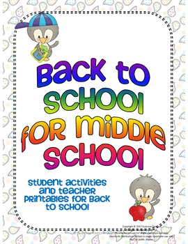 Back to School for Middle School - Student Activities & Teacher Printables