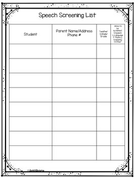 Back to School Forms for the Speech Pathologist {SLP Organizational Forms}